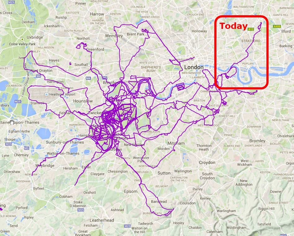 Full London map showing todays walk