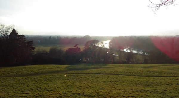 Looking back from the top of Richmond Hill - 'The Meadow' and the Thames are in the distance