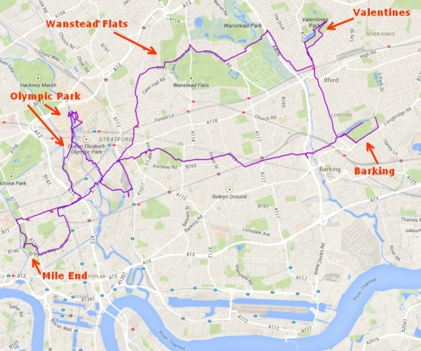 Today's map - four parkrun venues and a detour through Olympic Park