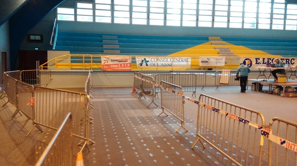 Inside the sports hall