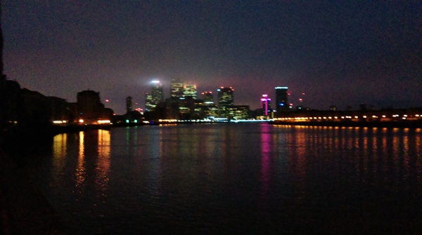Before reaching Tower Bridge I walked along beside the Thames for a bit. This photo is looking back towards Canary Wharf