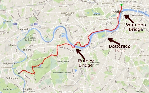 My route home followed the River Thames from Waterloo Bridge to Putney Bridge