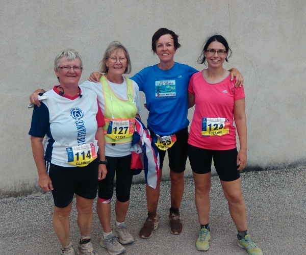 Claudie Bizard, Kathy Crilley, Benedicte Salomez (72 hours) and Suzanne Beardsmore after they finished their six day walks