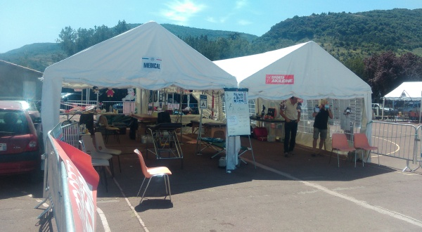 Privas 72 hour race medical tent - open from about 6am to 2am throughout the race