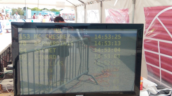 The TV screen showing our name and the time we crossed the timing mats.