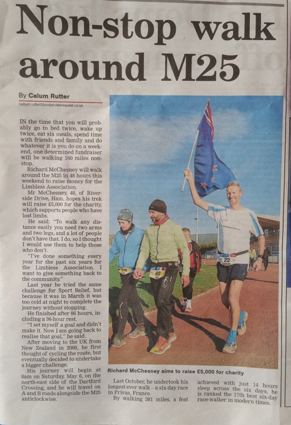 Surrey Comet article about M25 circumnavigation