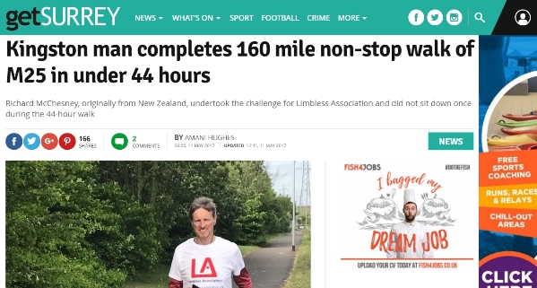 Get Surrey article about M25 walk