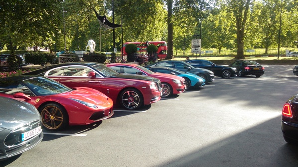 Cars parked in front of The Dorchester, Park Lane