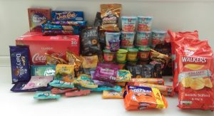 Some of the food I took to the race - this is what 40,000 calories looks like