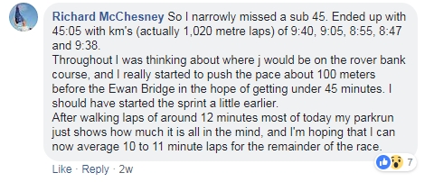 Lower Hutt parkrun facebook comment