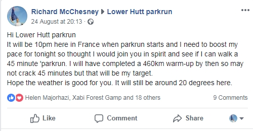 Lower Hutt parkrun facebook post