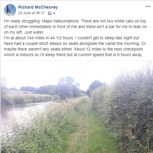 Facebook post 44 hours in to Thames Ring 250