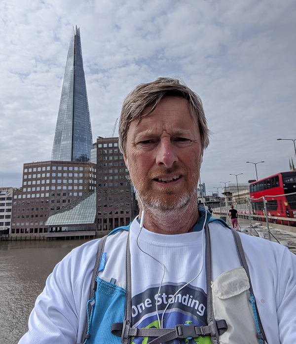 Crossing London Bridge with the Shard in the background