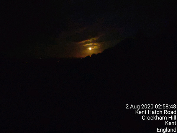 The full moon as seen from the top of Crockham Hill in Kent