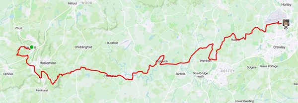 Surrey circumnavigation leg 1 map
