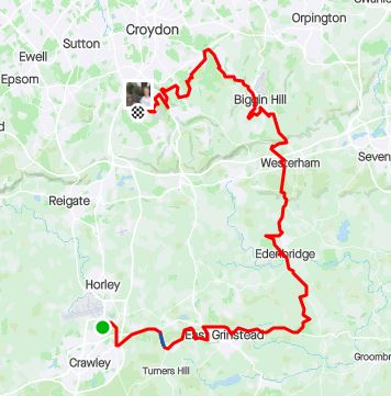 Surrey circumnavigation leg 2 map