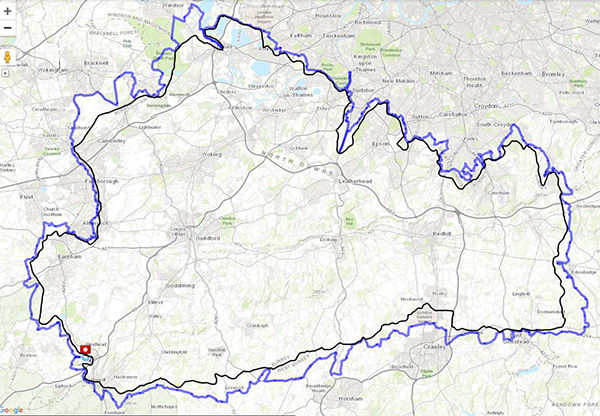 Surrey circumnavigation route