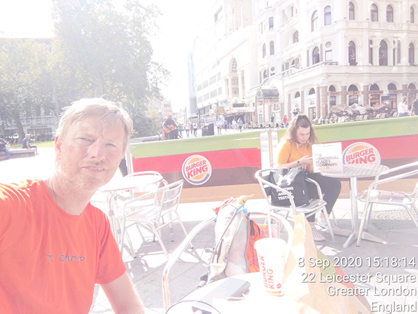 Lunch in Leicester Square during my London tube station walk